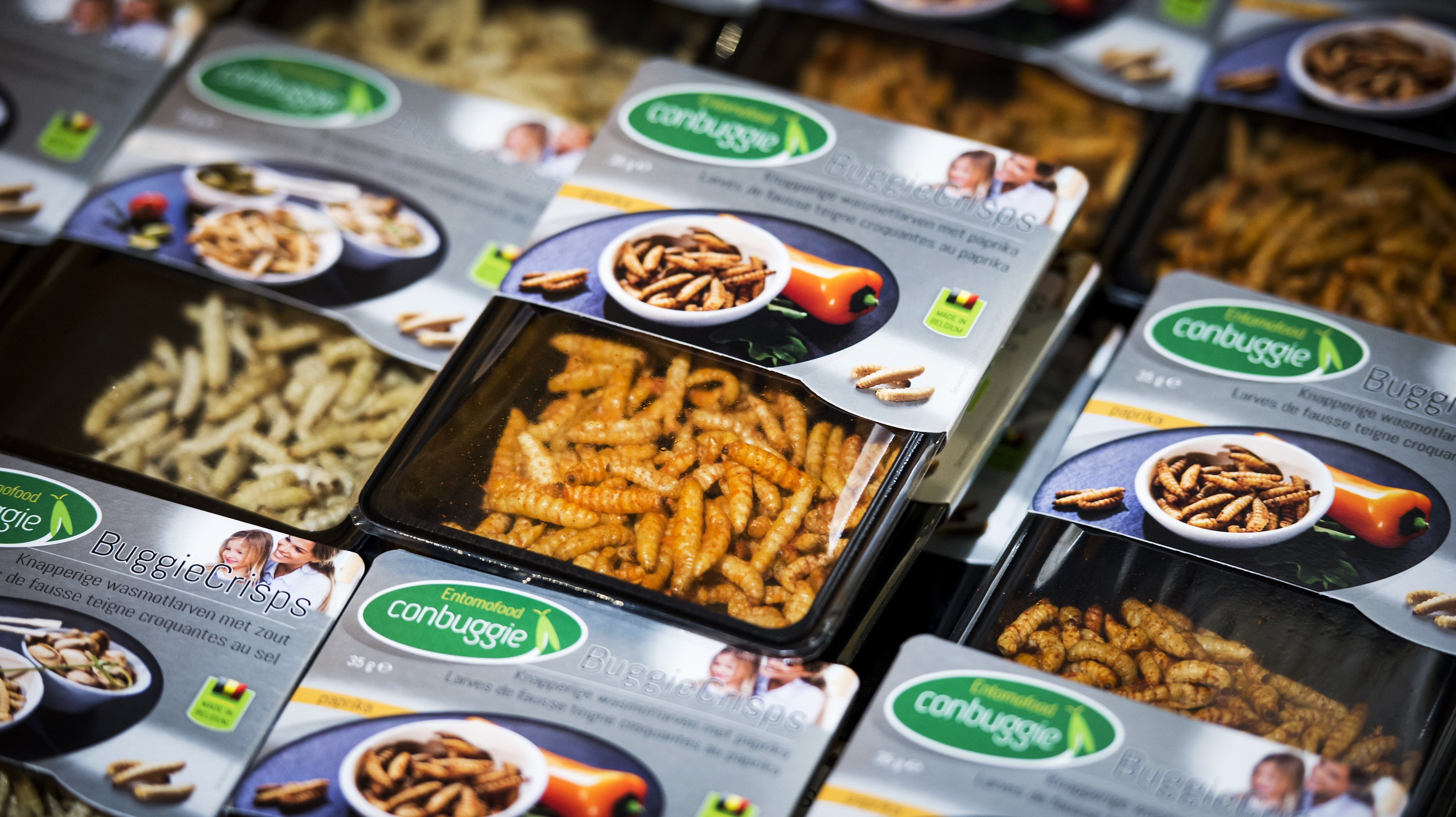 "A picture shows crunchy honeycomb moth larvae in a store of Dutch supermarket chain Jumbo in Groningen on October 31, 2014. From October 31, customers at Jumbo stores in two northern Dutch cities will be able to add ""buggy balls"", ""buggy burgers"" and ""buggy crisps"" to their shopping carts in a roll-out plan to put edible insect products on shelves in 400 stores across the country by early next year. Although some insect-based foods are already commercially available at Dutch wholesalers, Jumbo is the first national supermarket chain to stock shelves with products made from meal-worms, buffalo worms and moth larvae. AFP PHOTO / ANP / REMKO DE WAAL **NETHERLANDS OUT** (Photo credit should read REMKO DE WAAL/AFP/Getty Images)"